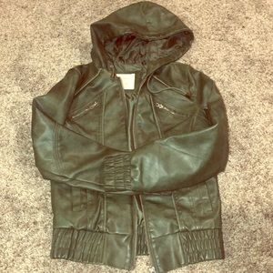 Green Sound & Matter Faux Leather Jacket